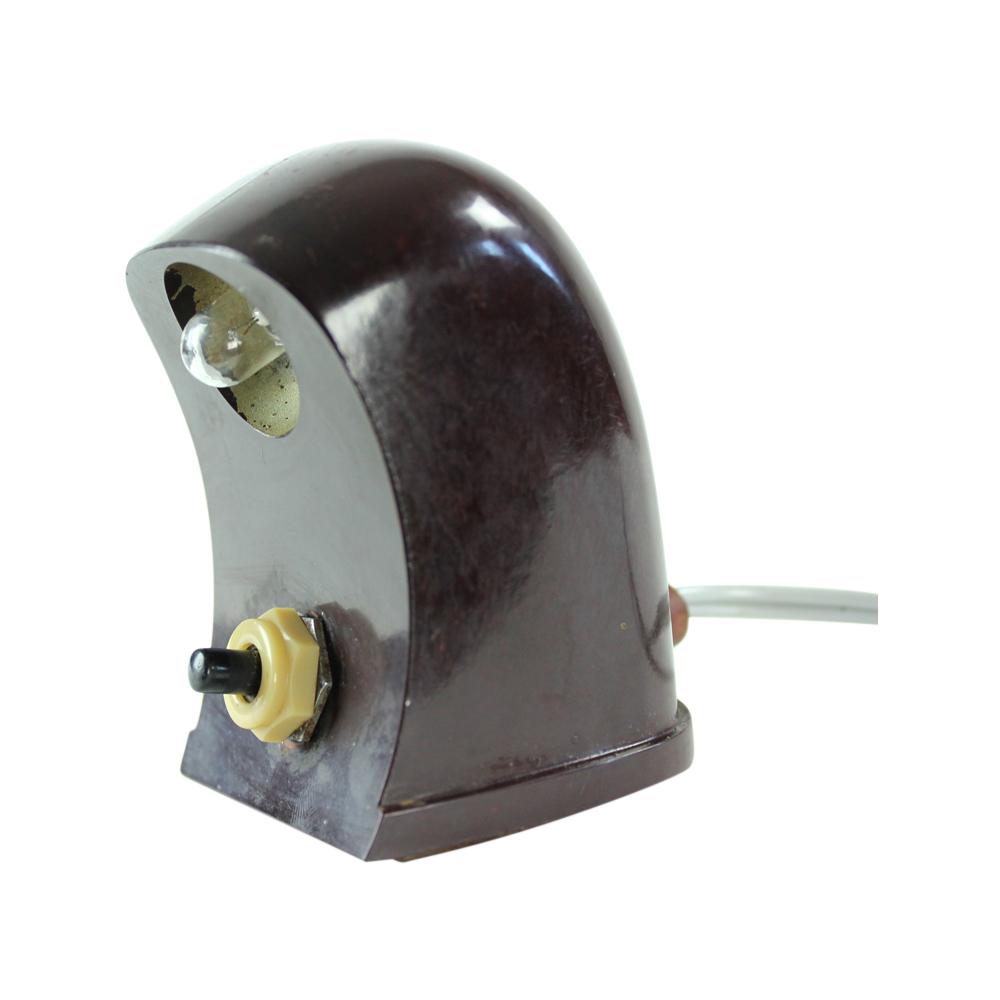 Miniature Table Lamp In Bakelite, Czechoslovakia 1930s