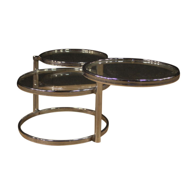 Italian design coffee table in metal and glass
