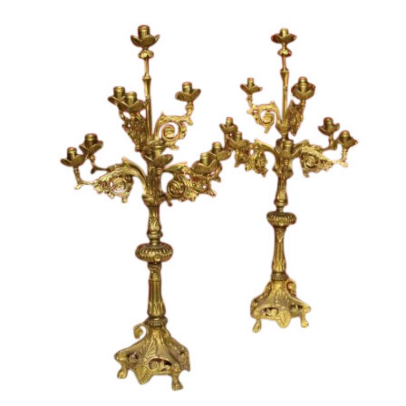 Pair of Italian candlesticks in gilt brass