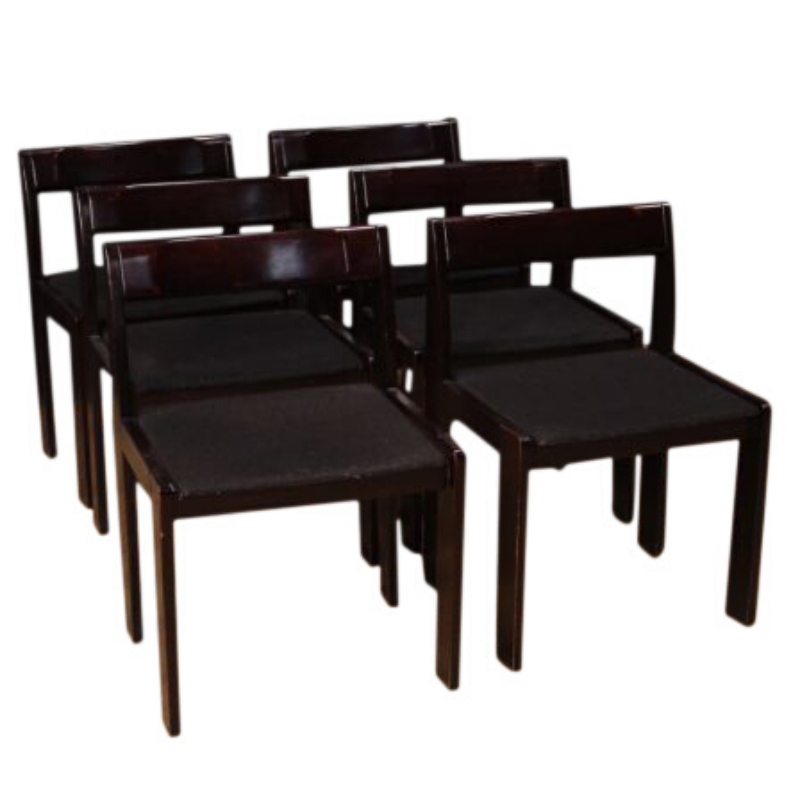 Six Italian design chairs in mahogany wood