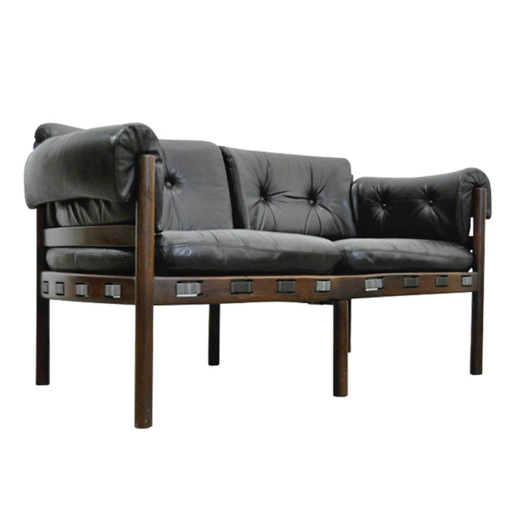 Vintage Dutch Black Leather 2-Seater Rosewood Sofa from Coja, 1960s
