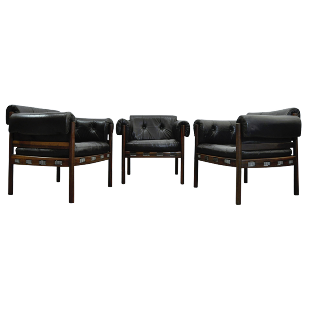 Vintage Dutch Black Leather Rosewood club chairs from Coja, 1960s