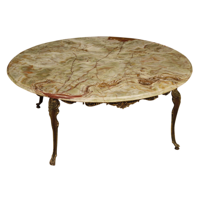 French coffee table with onyx top