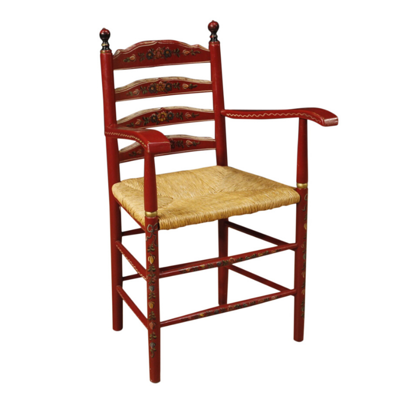 Dutch armchair in red painted wood with floral decorations