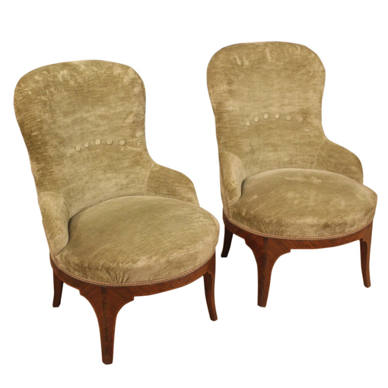 Pair of Italian velvet armchairs in Louis XV style