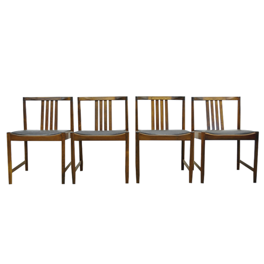 Vintage Scandinavian Rosewood Dining Chairs from Iilum Wikkelso, 1960s, Set of 4
