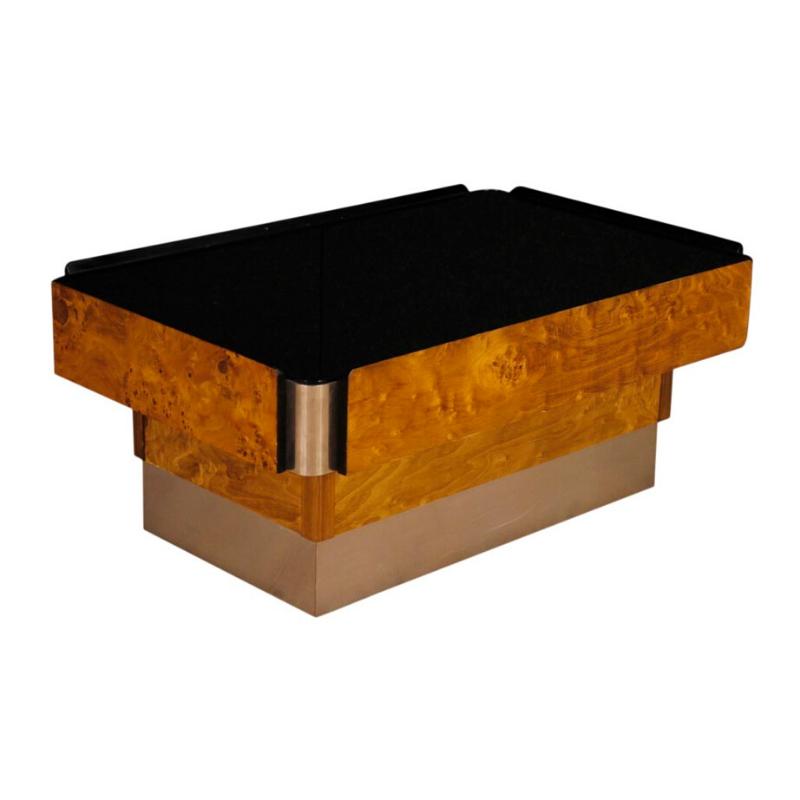 Italian design coffee table in wood, metal with mirror top