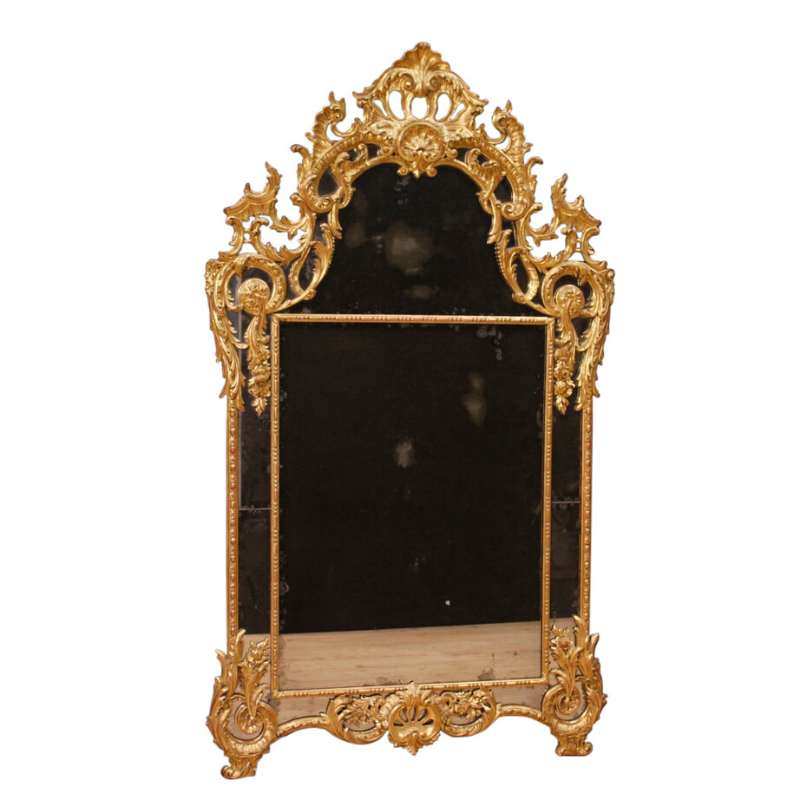 Golden Italian mirror in Louis XV style