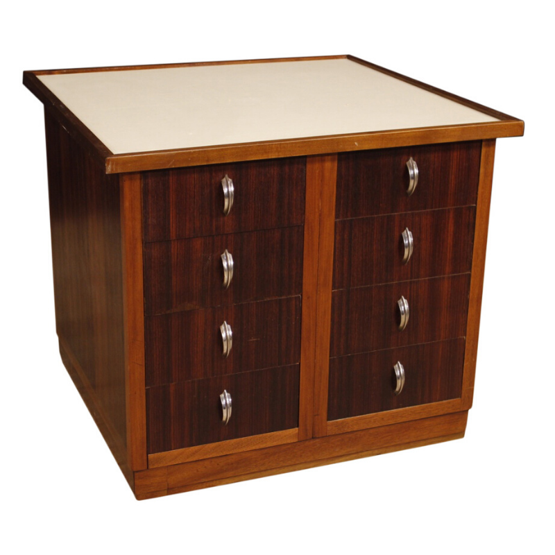 French design chest of drawers in mahogany, palisander and beech