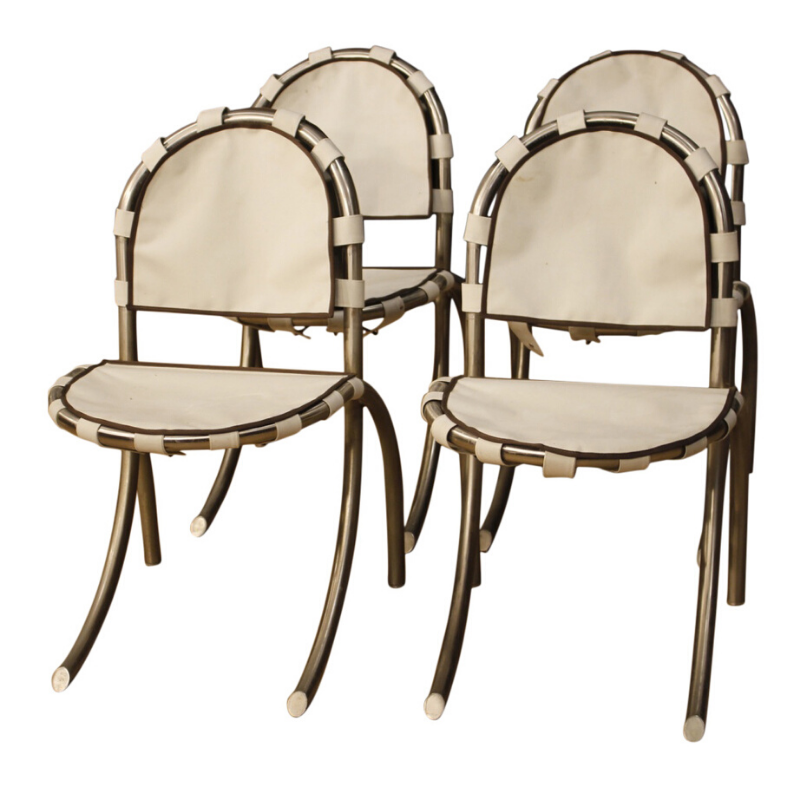 4 Italian chairs in steel and fabric by Bazzani design