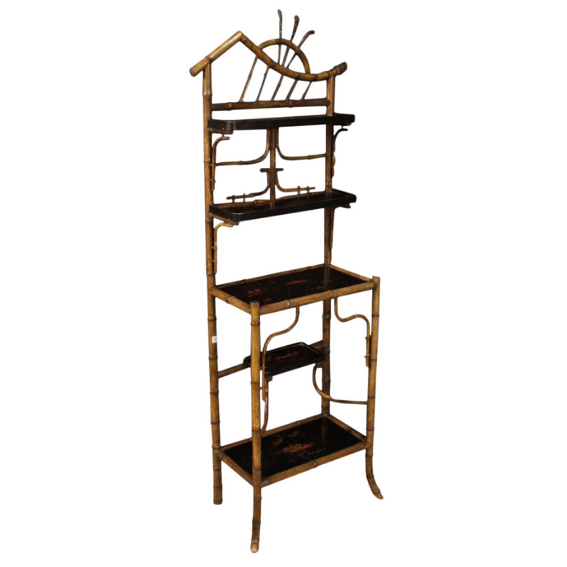 French étagère in bamboo and lacquered chinoiserie wood