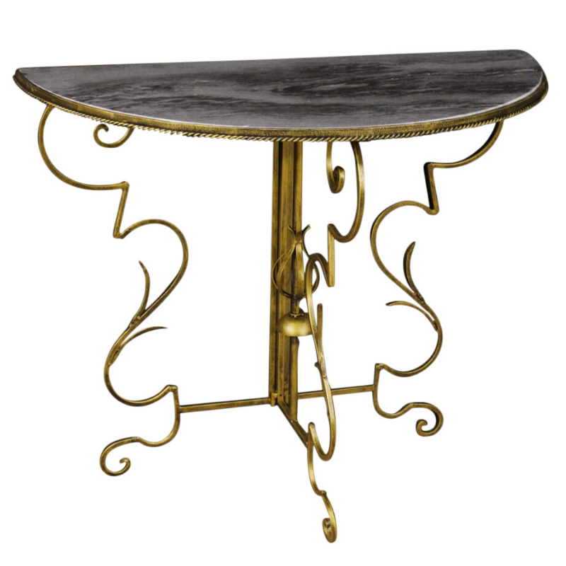 French demilune console in metal and marble