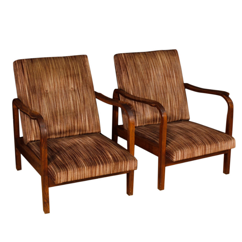Pair of Italian design armchairs in wood and striped fabric