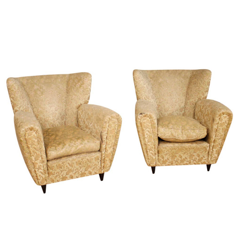 Pair of Borsani design armchairs in damask velvet