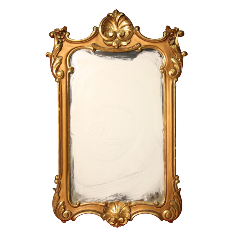 Sculpted and gilded Italian mirror
