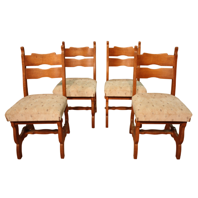 Group of 4 North European rustic chairs
