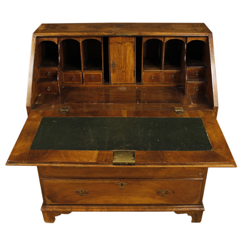 Antique English bureau in inlaid wood from 19th century