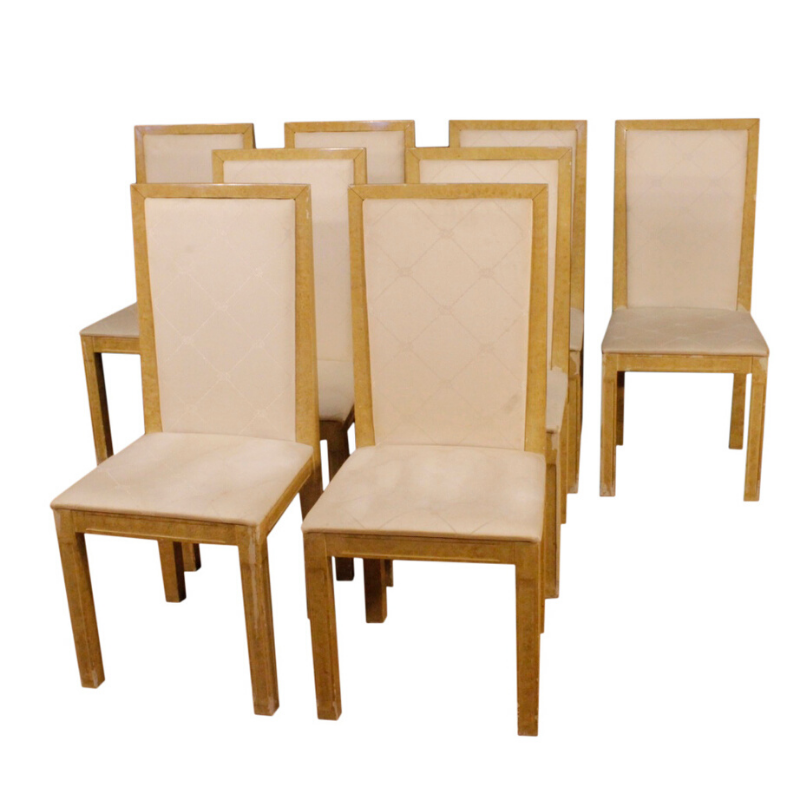 8 lacquered and painted Italian chairs