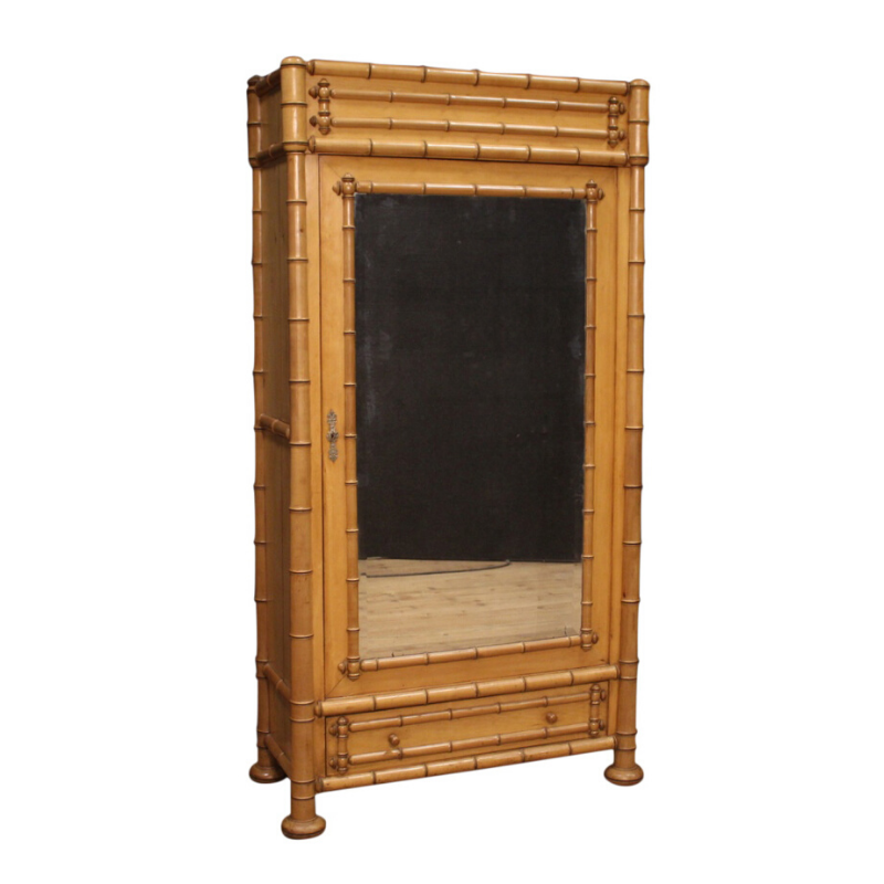 French wardrobe in fake bamboo with mirror