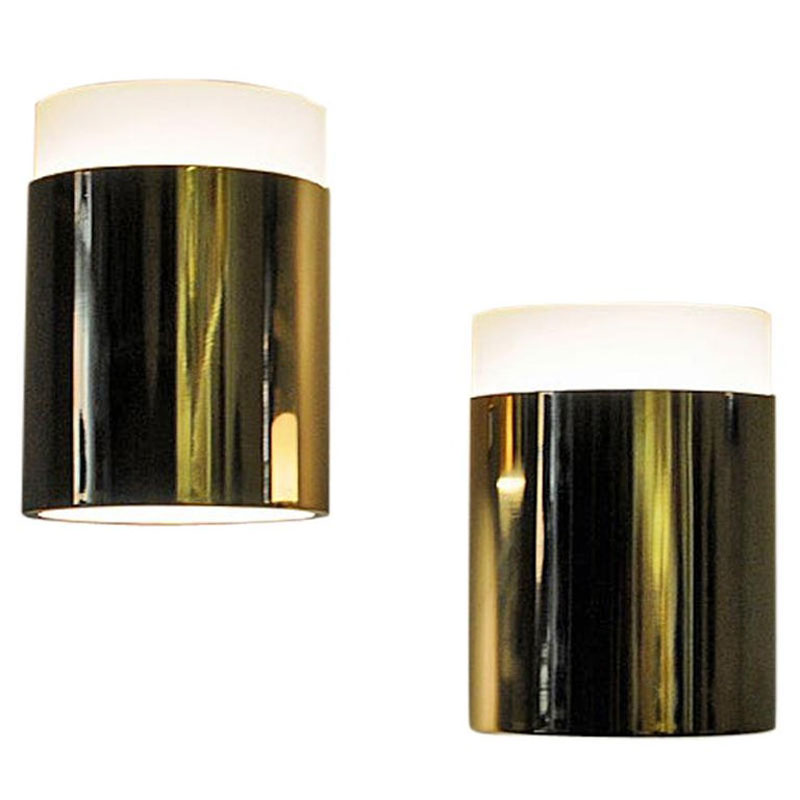 Vintage pair of opalineglass & brass Falkenberg wall lamps, Sweden 1960s