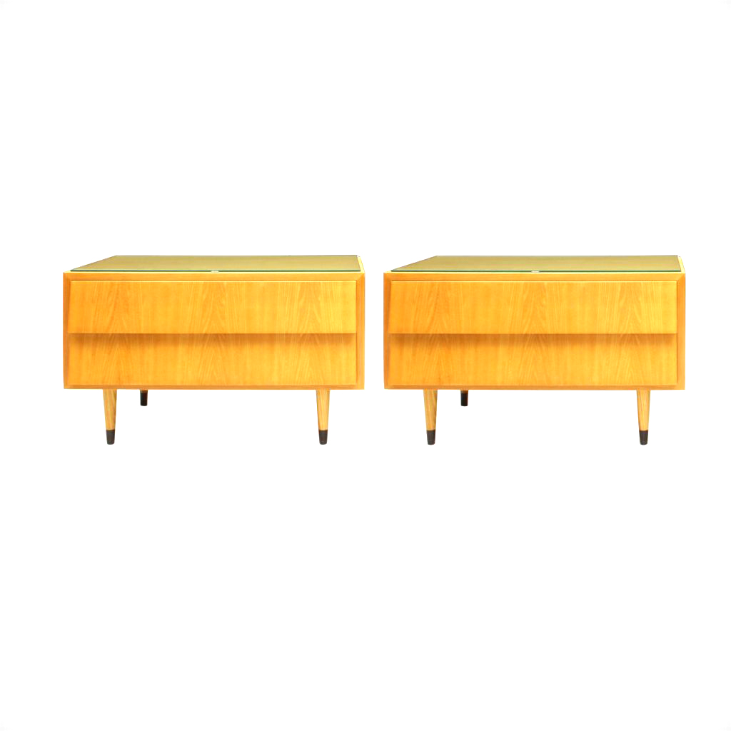 Pair Of Ash Wood Nightstands With Glass Tops, 1950s_R