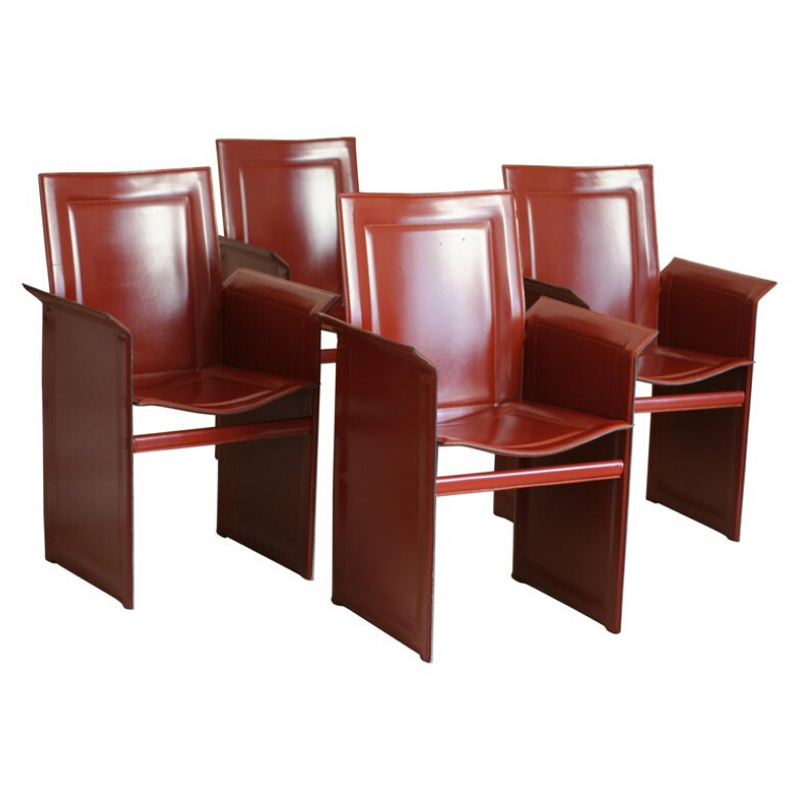 Set of Four 20th Century Tito Agnoli Model Korium Burgundy Leather Armchairs