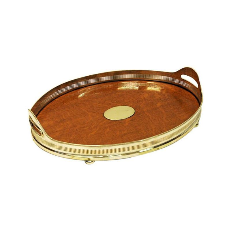 Vintage oval oak serving tray by Mappin & Webb, London – UK