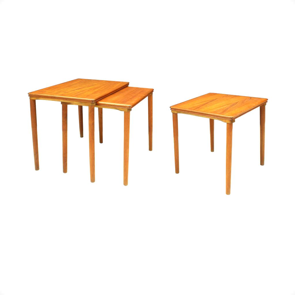 Set Of 3 Danish Teak Nesting Tables by E. W. Bach for Møbelfabrikken Toften, 1960s_R
