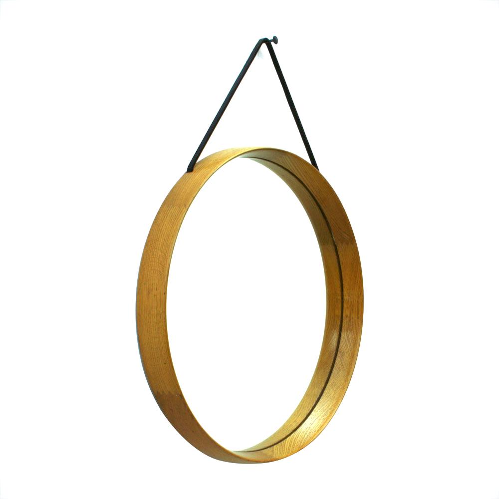 Swedish Solid Oakwood Mirror by Uno _ Östen Kristiansson for Luxus, 1960s_R