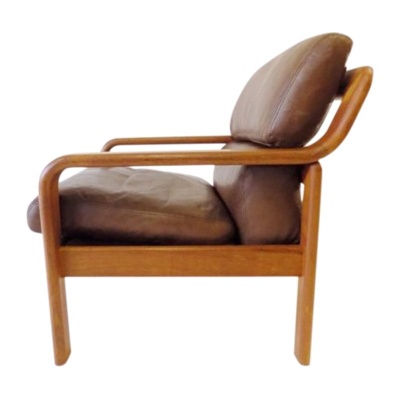 Danish Easy Chair Teak Leatherchair by L. Olsen&Son