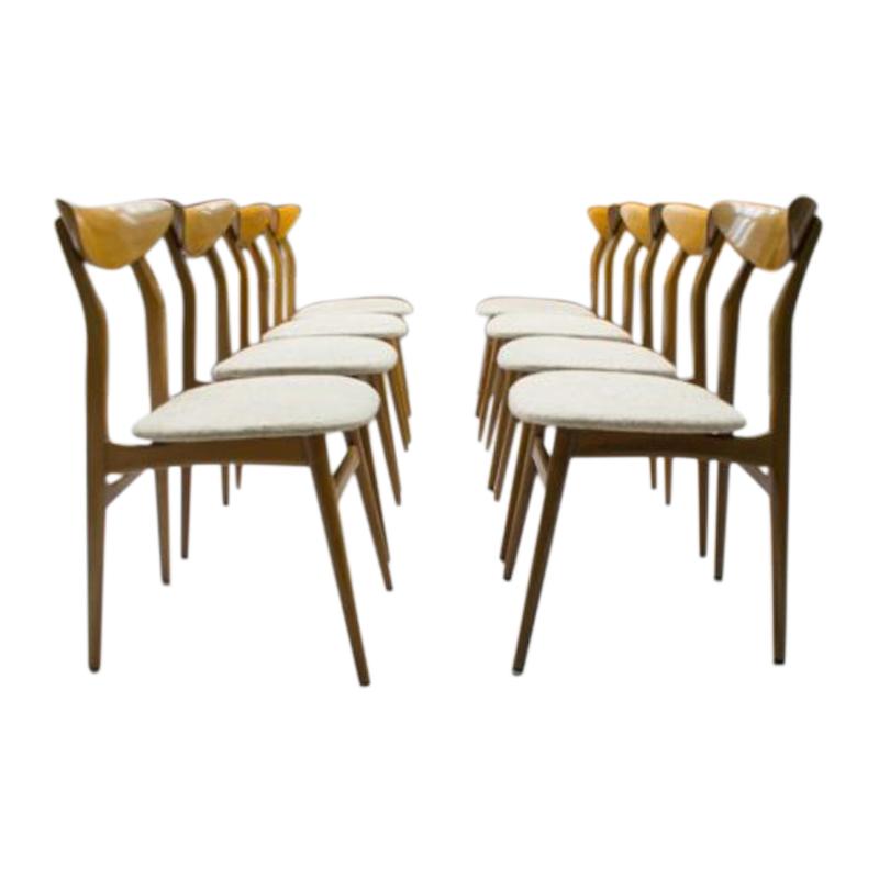 Scandinavian Wooden Dining Chairs, 1960s, Set of 8