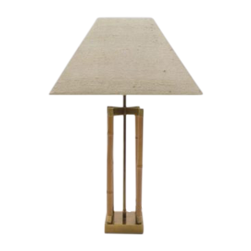 Bamboo & Brass Table Lamp in the style of Gabriella Crespi, Italy 1960s