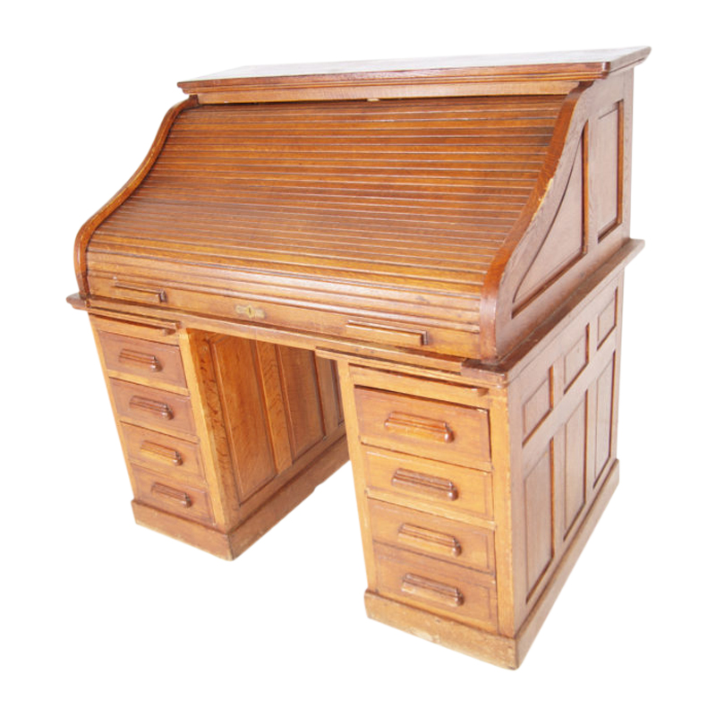 Edwardian oak twin pedestal roll top desk