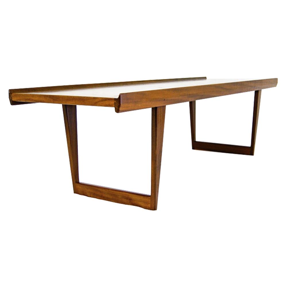 Dansk Design Denmark Peter Lovig Nielsen, Elegant Solid Teak Sled Legs Coffee Table