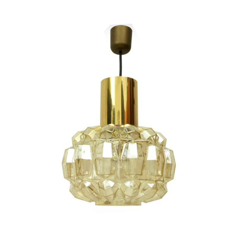 1 Of 2 German Brass & Glass Pendant Lamps by Helena Tynell for Glashütte Limburg, 1960