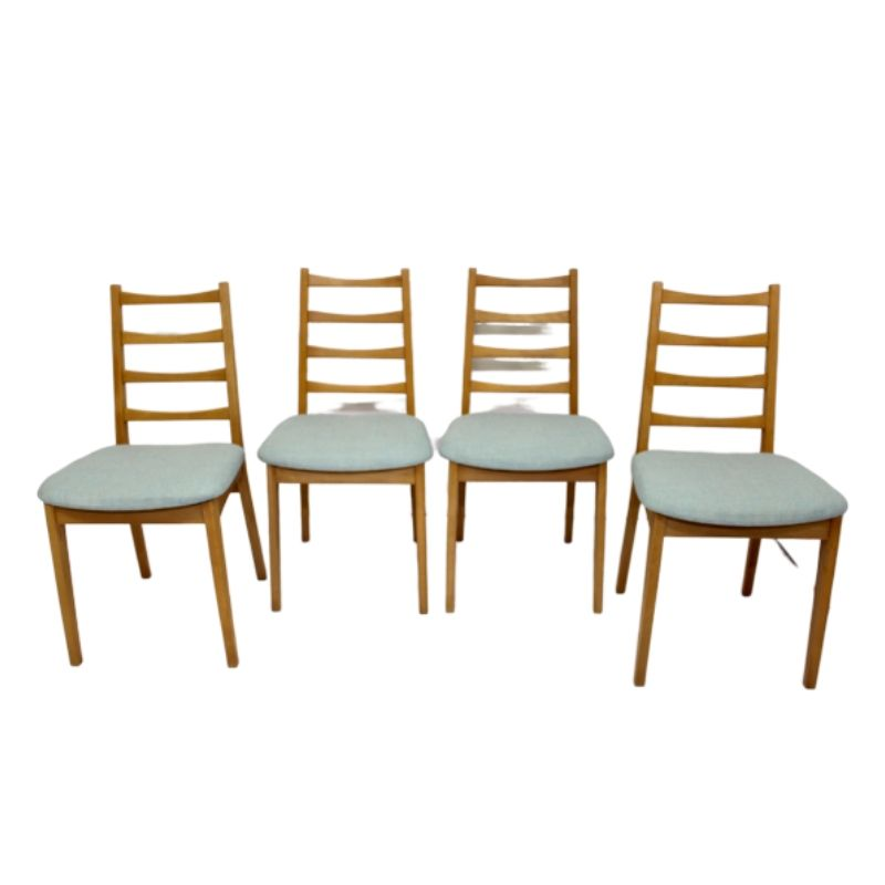 Set of 4 Scandinavian chairs year 50 restored fabric edition Lelievre