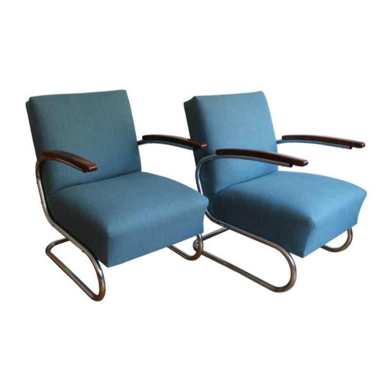 Pair of Modernist Armchairs by Walter Schneider and Paul Hahn