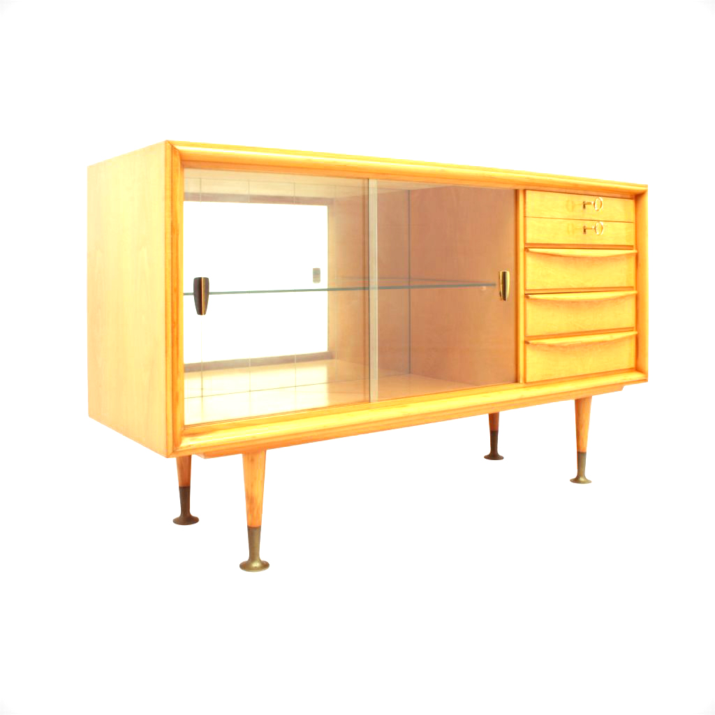 Small Cherry Wood Sideboard With Glass Doors, 1950s_R