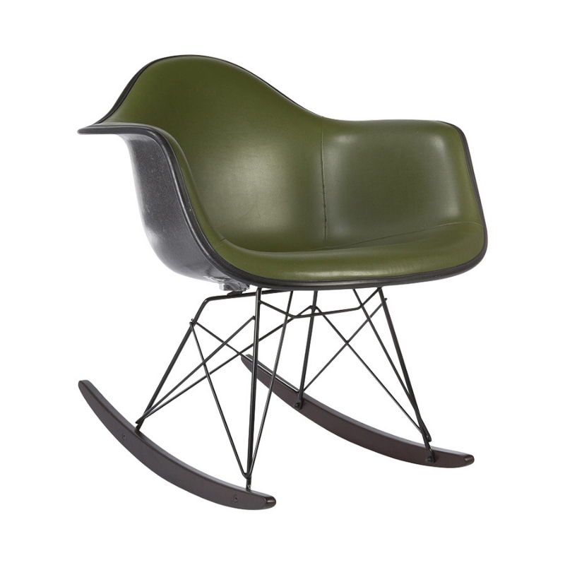 Green Herman Miller Original Eames Upholstered Black RAR Rocking Chair