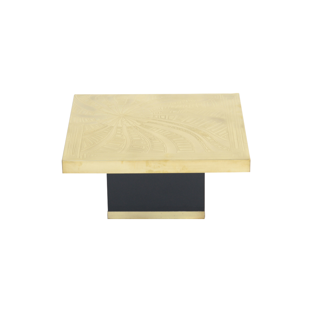 Etched Brass Side Table by Georges Mathias