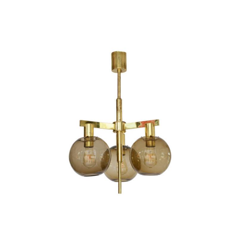 "Brass chandelier T348/3 ""Pastoral"" by Hans-Agne Jakobsson for Hans-Agne Jakobsson AB, Markaryd. Sweden 1960s"