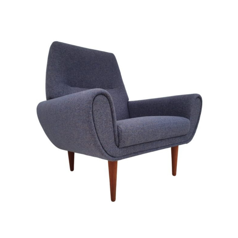 Danish armchair '60s, completely renovated – reupholstered, Danish furniture manufacturer