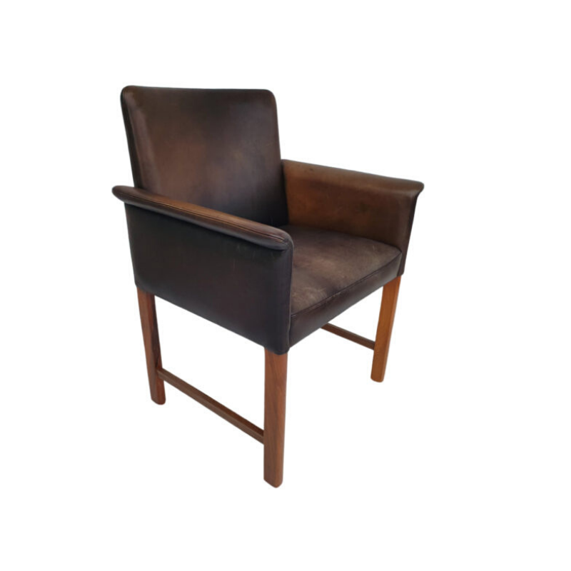 Danish conference chair by Hans Olsen, 60s, original leather, solid rosewood