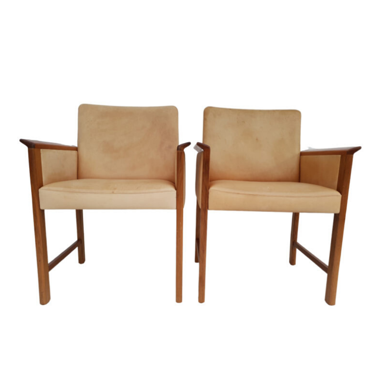 Danish conference chairs by Hans Olsen, 60s, original VEGETAL leather, solid teak wood