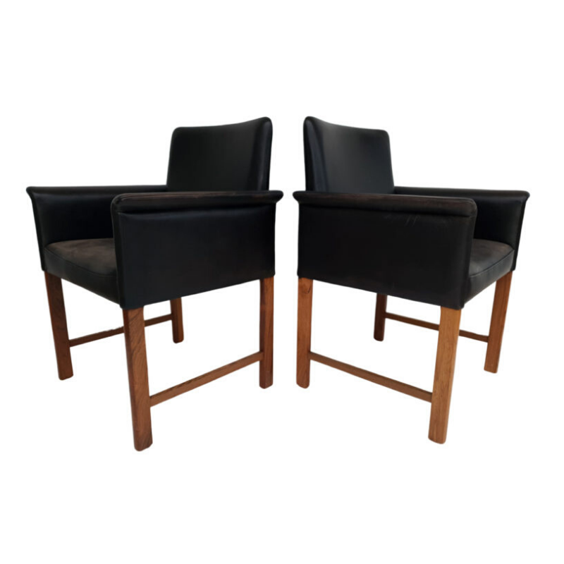 Danish conference chairs by Hans Olsen, 60s, original upholstery – leather, solid rosewood
