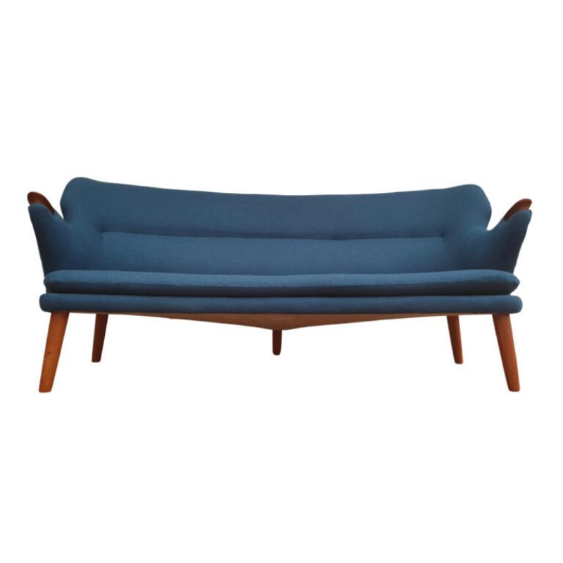 Danish design, Kurt Olsen Banana sofa model 220, 60s, completely renovated – reupholstered