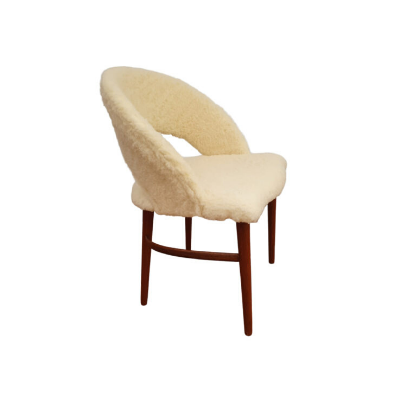 Danish make up chair by Frode Holm, 60s, completely reupholstered
