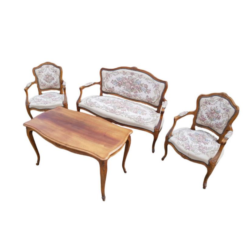 Danish sofa set in the Louis XIV style, mahogany, 60s