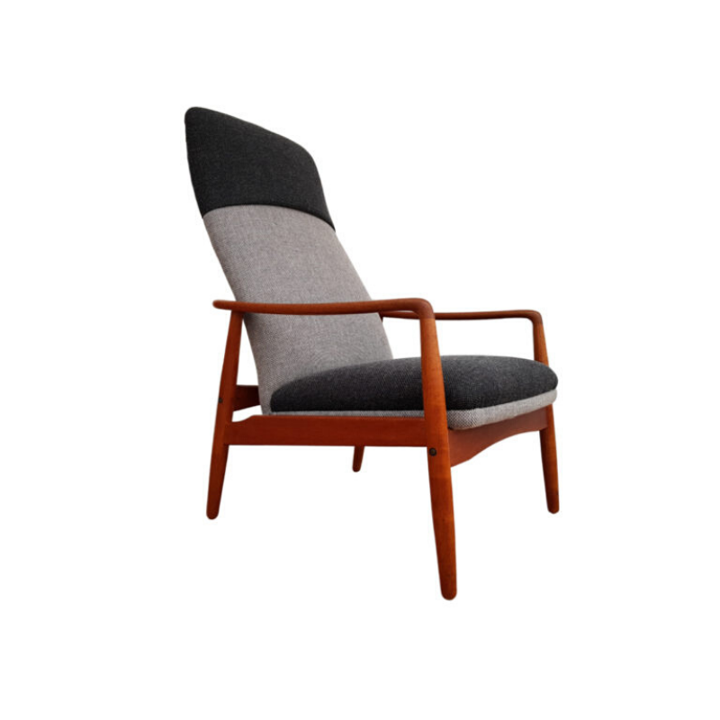 Danish swing lounge chair by Søren J. Ladefoged & Søn, 60s, completely renovated – reupholstered