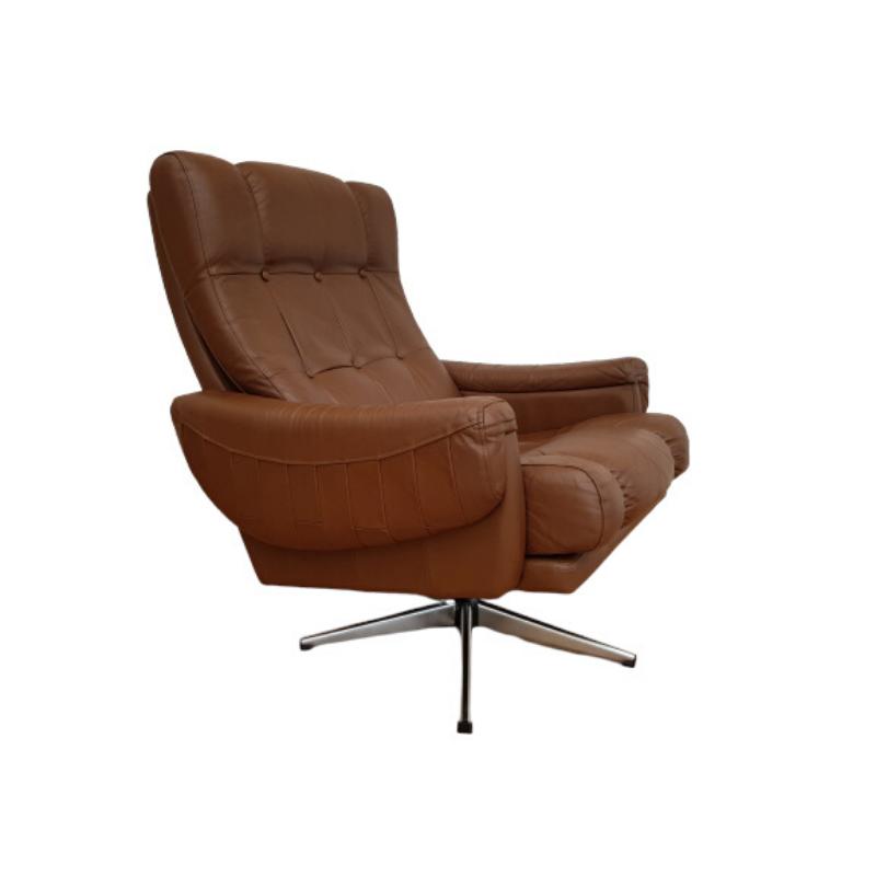 Danish swivel armchair, 70s, leather, original upholstery, very good condition